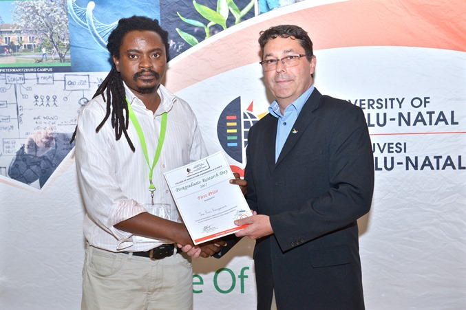 Prizes - Jean Pierre Havugimana won best MSC oral presentation - SAEES