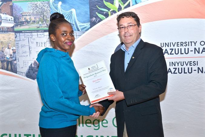 Prizes - Nothando Dhlamini won best MSc oral presentation - MSCS